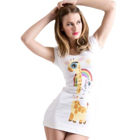 organic_fairtrade_puff_sleeved_Tshirt_dress_woman_giraffe